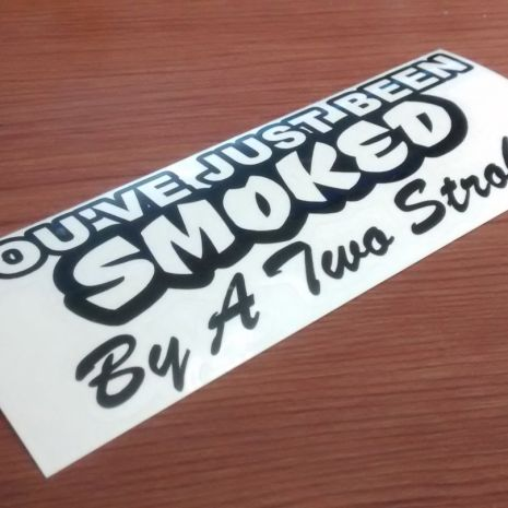 Biker decal smoked by two stroke